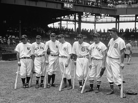 Seven of the American League All-Star players, from left to right Lou Gehrig, Joe Cronin, Bill Dickey, Joe DiMaggio, Charlie Gehringer, Jimmie Foxx, and Hank Greenberg. All seven would eventually be elected to the Hall of Fame.