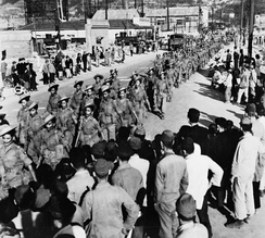 May 1946: The 2nd Battalion 5th Royal Gurkha Rifles march through Kure, Hiroshima soon after their arrival in Japan.