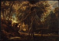 Peter Paul Rubens, A Forest at Dawn with a Deer Hunt, c. 1635