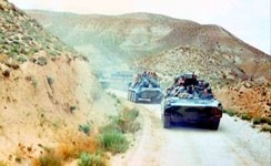 BMPs and BTRs of the 350th Guards Airborne Regiment in a convoy in Afghanistan