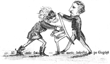 Cezar Bolliac (left) and Grigore Serrurie fighting over the Fourth College seat in Vlașca. Ghimpele cartoon of January 1, 1868
