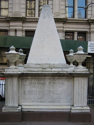 Hamilton's tomb in Trinity Church's first burial grounds at Wall Street and Broadway in Lower Manhattan