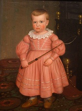 Young boy in pink, American school of painting (about 1840). Both girls and boys wore pink in the 19th century.
