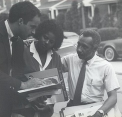 Mitchell campaigning on the streets of Baltimore in August 1982 with Georgia Gosslee and Curt Anderson