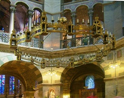 The Barbarossa Chandelier in Aachen Cathedral was donated by Frederick sometime after 1165 as a tribute to Charlemagne.