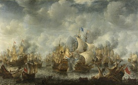 The Battle of Scheveningen, 10 August 1653 by Jan Abrahamsz Beerstraaten, painted c. 1654 shows the view of the battle from the Dutch shore where thousands gathered to watch.
