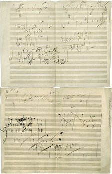 Historical musicology, which was traditionally the most prominent subdiscipline of musicology, studies the history of music. Central to this study is the examination of historical scores, such as this original manuscript sketch by Ludwig van Beethoven for Piano Sonata No. 28, Movement IV, Geschwind, doch nicht zu sehr und mit Entschlossenheit (Allegro), in his own handwriting. The piece was completed in 1816.