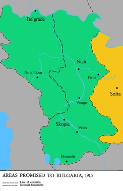 Serbian territories guaranteed to Bulgaria with the Treaty of Amity and Alliance
