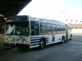An Ultra Low-Sulfur Diesel-powered AN460LF low-floor of RTC Transit in Las Vegas, Nevada