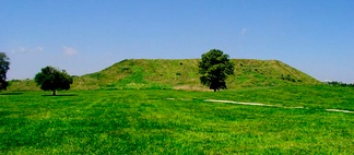 Monks Mound from the side showing the 2 terraces.