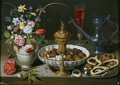 "Still life Mesa (""Table"") with dried figs and other fruits in a bowl by Clara Peeters, 1611"