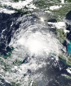 Tropical Storm Claudette hitting the Yucatán Peninsula on July 11