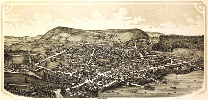 Cooperstown depicted on an 1890 panoramic map