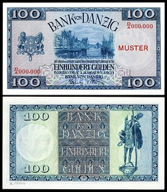 A 100 Danzig gulden banknote issued by the Bank of Danzig in 1931.
