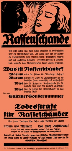 Poster of the Nazi paper Der Stürmer (1935) condemning relations between Jews and non-Jewish Germans