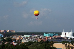 View of Disney Springs and Characters in Flight