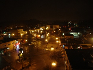 Downtown East Lansing at night, overlooking Albert Street