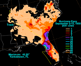 Hurricane Easy's Rainfall across the Southeastern United States