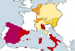 Charles V's European territories. Red represents the Crown of Aragon, magenta the Crown of Castile, orange his Burgundian inheritances, mustard yellow his Austrian inheritances, and pale yellow the balance of the Holy Roman Empire.