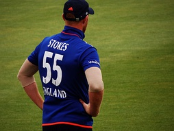 English cricketer Ben Stokes wearing 55 in a One Day International match v New Zealand, 2015. Players may choose their own numbers