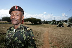 A Mozambique army officer during Exercise SHARED ACCORD 2010 with the United States