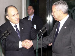 Giuliani and Secretary of State Colin Powell at the U.S. Delegation to OSCE's Anti-Semitism Meeting in Vienna, Austria, in 2003
