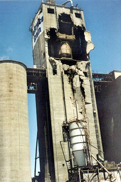 An explosion of dust at this grain elevator in Kansas killed five workers in 1998.