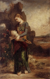 Thracian Girl Carrying the Head of Orpheus on His Lyre (1865) by Gustave Moreau