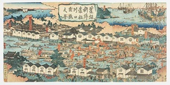 A set of three ukiyo-e prints depicting Osaka's bustling shipping industry. by Gansuitei Yoshitoyo. 1854-1859.