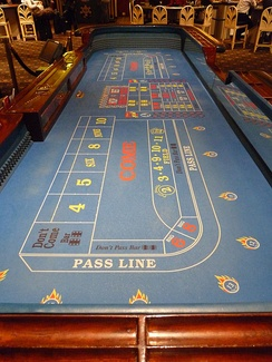 A standard craps table