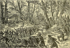 British forces are attacked by Native American, French, and Canadian forces positioned along the tree line.