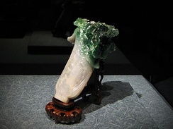 Jadeite Cabbage – Jin received it as part of her dowry for her wedding to Guangxu, in 1889; originally displayed in Forbidden City (Beijing), it is now in National Palace Museum (Taipei City).[48]