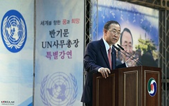 Ban Ki-moon giving a lecture from a lectern