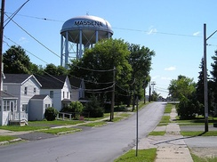 The town's water tower.
