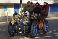 1901 Mors 10 H.P. rear-entrance tonneau owned by the RAC is a regular contender at the London to Brighton veteran car run; here at Crawley in 2006