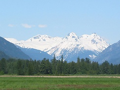 The Mount Meager massif as seen from the east near Pemberton. Summits left to right are Capricorn Mountain, Mount Meager and Plinth Peak.