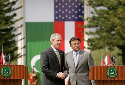 President George W. Bush meets with President Musharraf in Islamabad during his 2006 visit to Pakistan.