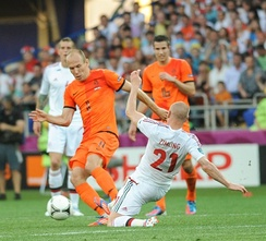 Dutch star football players Arjen Robben and Robin van Persie during a game with the Netherlands national football team against Denmark national football team at Euro 2012