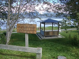 Obihiro Park, with gazebo given to the people of Seward in 1993. Resurrection Bay is in the background.