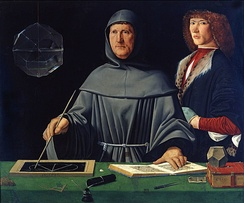 Portrait of Luca Pacioli, father of accounting, painted by Jacopo de' Barbari,[b] 1495, (Museo di Capodimonte).