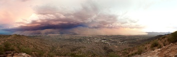 photo of a dust storm, called a haboob, sweeping in over the city of phoenix