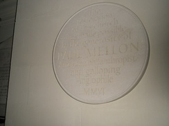Plaque to Paul Mellon, American philanthropist and galloping anglophile within St George's, Bloomsbury