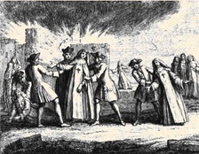 Nuns being forcibly removed from the convent of Port-Royal-des-Champs in 1709
