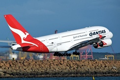Qantas A380 taking off at Sydney Airport