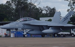 An RAAF F/A-18F shortly after it first arrived in Australia