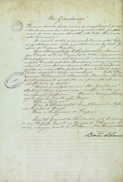 Declaration of the Baron of Caxias announcing the end of the Revolution Farroupilha, 1845. National Archives of Brazil.