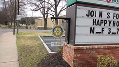 A sign showing where the local Rotary Club meets, San Marcos, Texas, United States