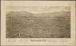 Lithograph of Rutland from 1885 by L. R. Burleigh with list of landmarks