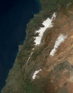 Lebanon from space. Snow cover can be seen on the western Mount Lebanon and eastern Anti-Lebanon mountain ranges