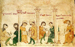 An 1196 miniature depicting the various scribes (1. Greeks 2. Saracens 3. Latins) for the various populations of the Kingdom of Sicily